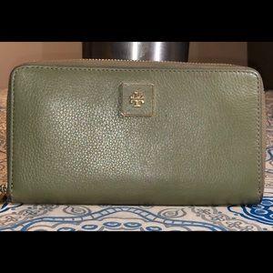 Tory Burch Zip Gold Continental Wallet- Green